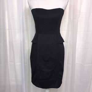 Strapless Little Black Peplum Dress